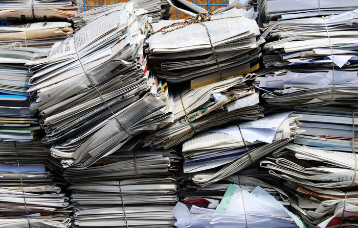 Paper packages for a recycling plant