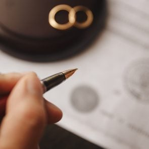 marriage contract and pen