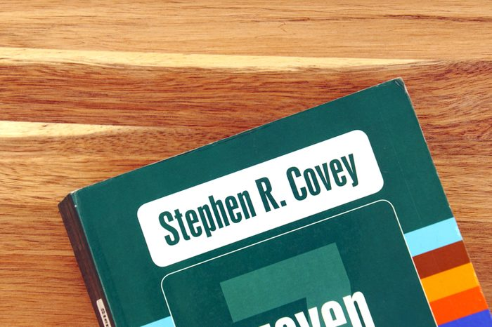 Amsterdam, the Netherlands - December 14, 2018: Book cover of The Seven Habits of Highly Effective People by Stephen Covey against a wooden background.