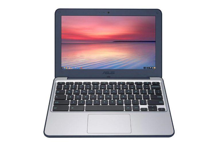 "ASUS Chromebook C202SA-YS02 11.6"" Ruggedized and Water Resistant Design with 180 Degree (Intel Celeron 4 GB, 16GB eMMC, Dark Blue, Silver)"