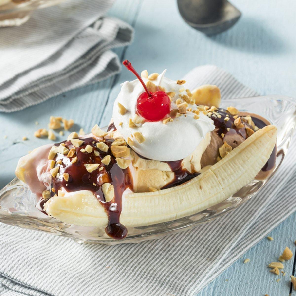 Sweet Homemade Banana Split Sundae with Chocolate Vanilla Strawberry Ice Cream