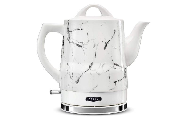 BELLA (14743) 1.5 Liter Electric Ceramic Tea Kettle with Boil Dry Protection & Detatchable Swivel Base, White Marble