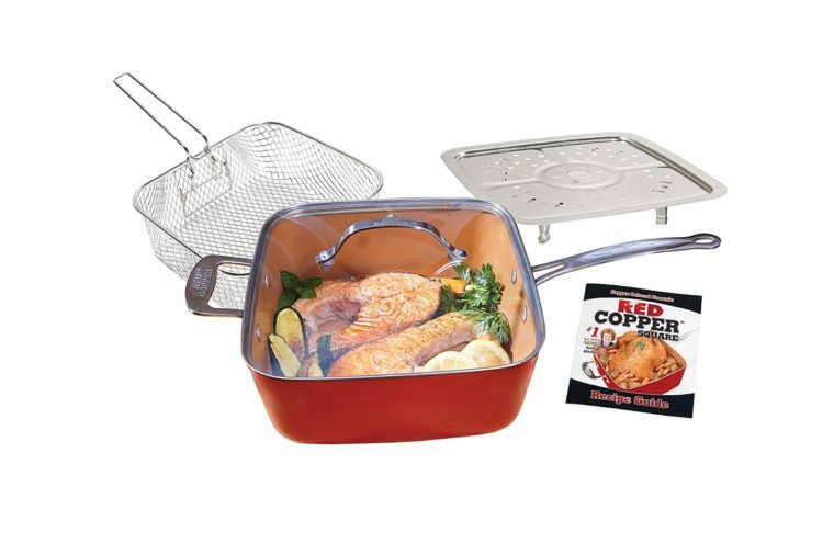 BulbHead 11198 Red Copper Square Pan 5 Piece Set by BulbHead, 10-Inch Pan, Glass Lid, Fry Basket, & More