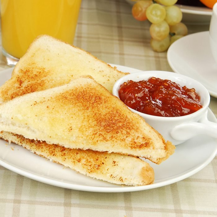 Thick sliced Texas toast with strawberry apple preserves