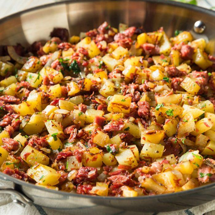 Savory Homemade Corned Beef Hash in a Pan