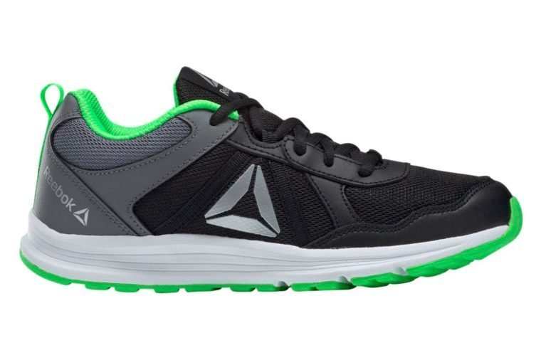 black, grey, and green reebok sneaker on white background