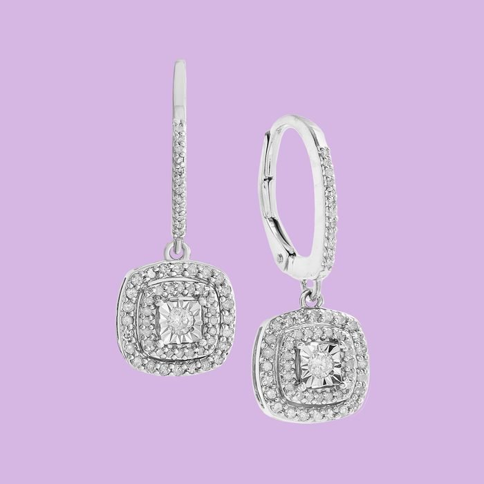 diamond silver earrings