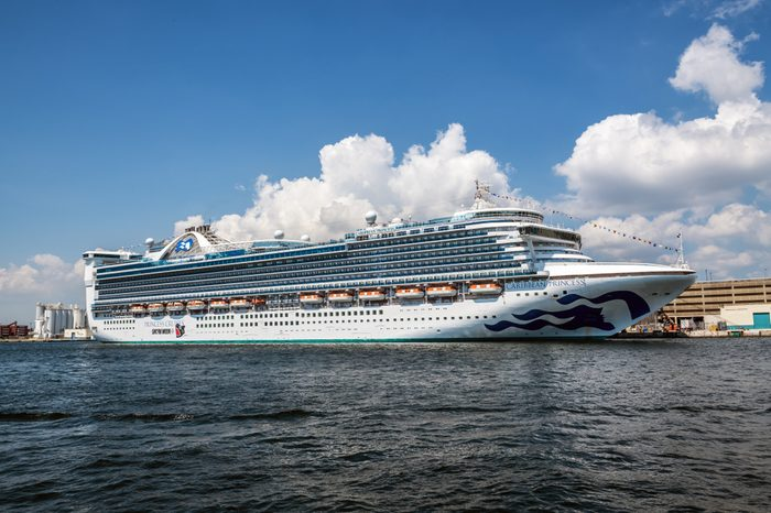 FORT LAUDERDALE, FLORIDA - JULY 14 - The cruise ship Caribbean Princess docked on July 14 2018 in Fort Lauderdale Florida.