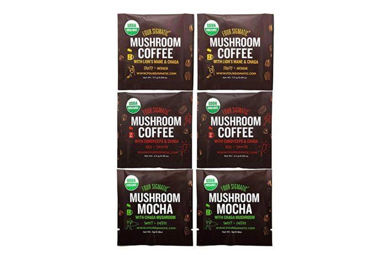 Four Sigmatic Mushroom Arabica Coffee Sampler – Mushroom Mocha (Chaga and Cacao), Mushroom Coffee with Cordyceps and Chaga, Mushroom Coffee with Lion's Mane and Chaga (6...