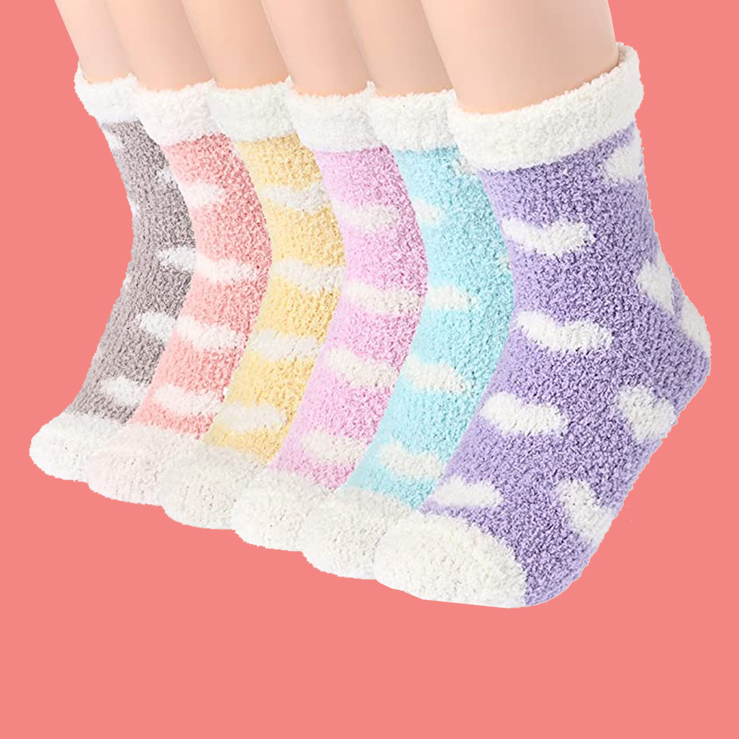 slipper socks with hearts on them