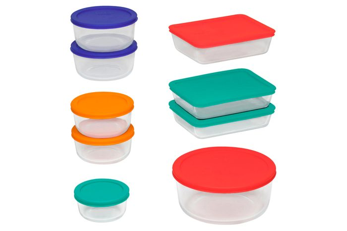 pyrex containers set on white background