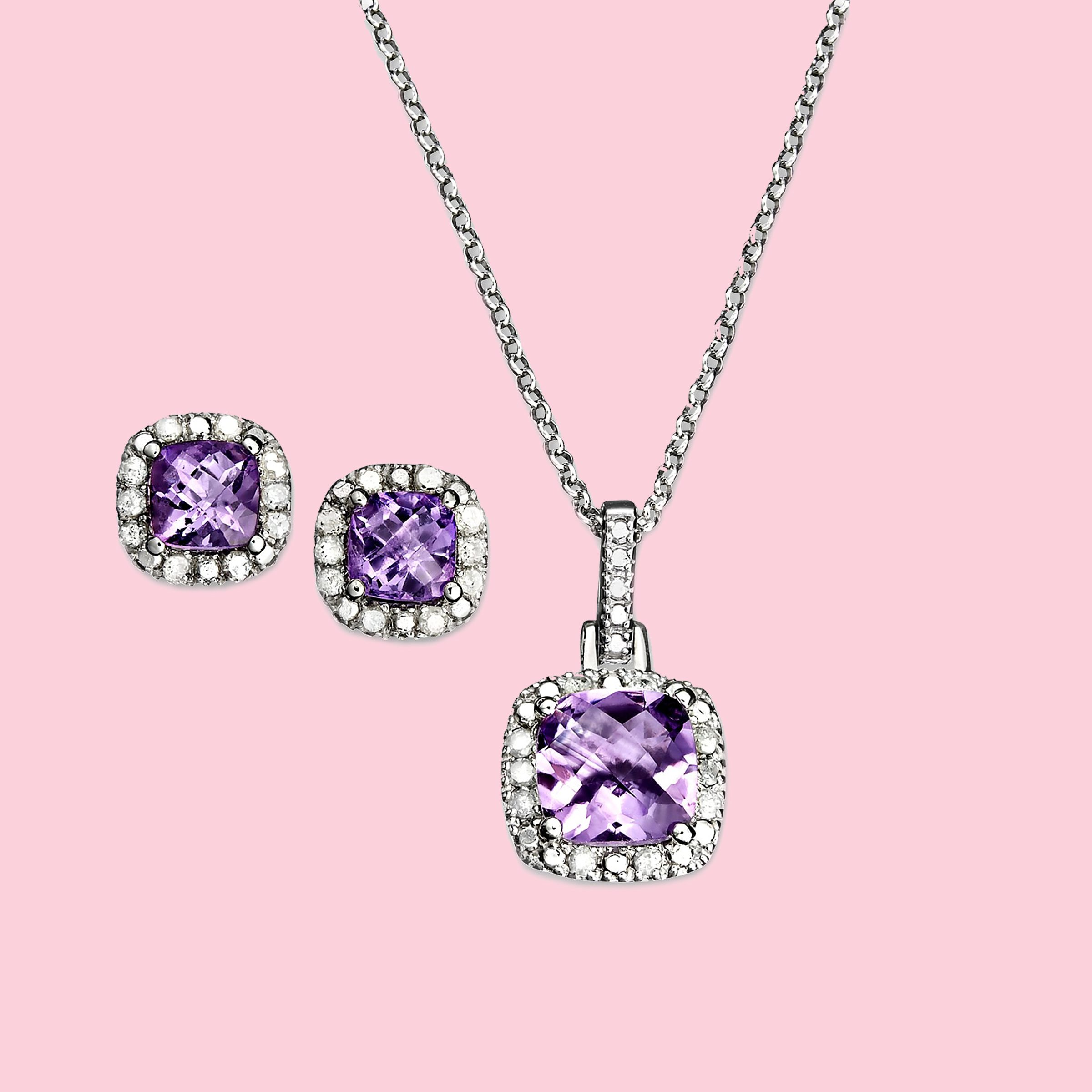 purple gemstone earrings and necklace