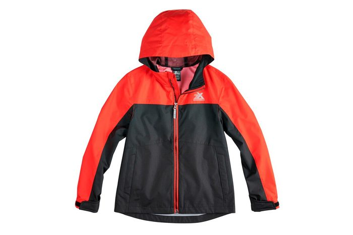 kids black and red winter jacket