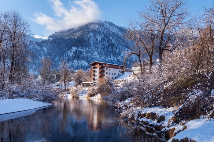 Leavenworth, WA USA - December 20th, 2017. Waterfront park is one of the best places in Leavenworth. Trails wind along the Wenatchee river and through quiet riverbank forests.