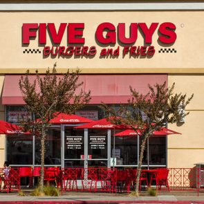 LOS ANGELES, CA/USA - OCTOBER 13, 2014: Five Guys Burgers and Fries restaurant exterior. Five Guys is a restaurant chain that serves on hamburgers, hot dogs, and French fries.