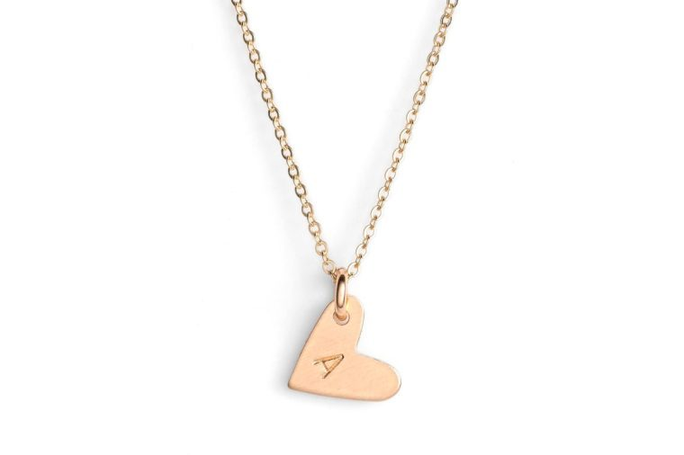 "modest jewelry- 14k gold filled initial mini heart pendant necklace ""A"""