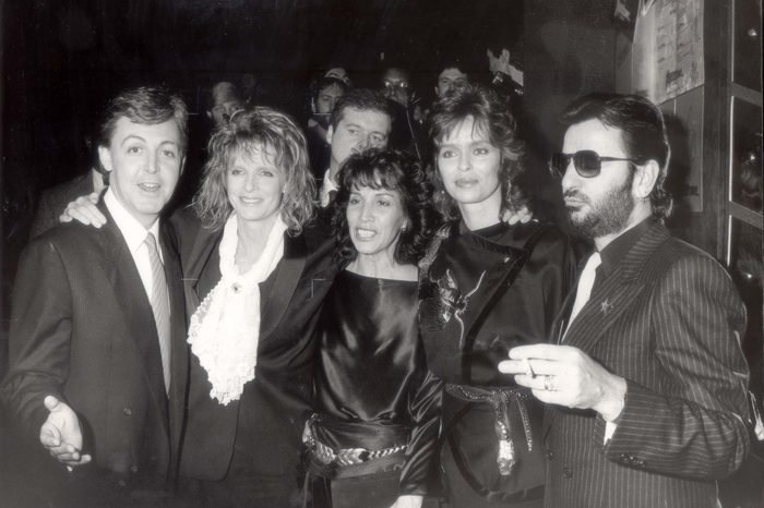 Paul Mccartney 1984 Ltor: Sir Paul Mccartney Linda Olivia Harrison Barbara Bach And Ringo Starr. It Was Like Old Times - When George Meant Harrison Not Boy - As Sir Paul Mccartney's Film Give My Regards To Broad Street Had Its West End Premiere Last