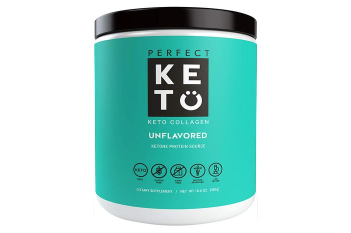 Perfect Keto Protein Powder Unflavored: Grassfed Collagen Peptides Low Carb Keto Drink Supplement With MCT Oil Powder - Best as Keto Drink Creamer or added to Ketogenic Diet Snacks Paleo & Gluten Free