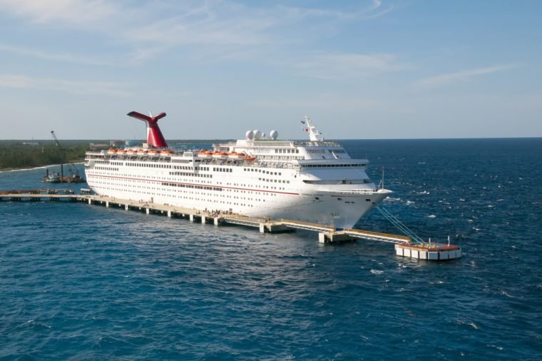 PORT OF FREEPORT GRAND BAHAMAS ISLAND - JAN., 18, 2015: Carnival Elation Cruise ship docked in Freeport Grand Bahamas at sunset
