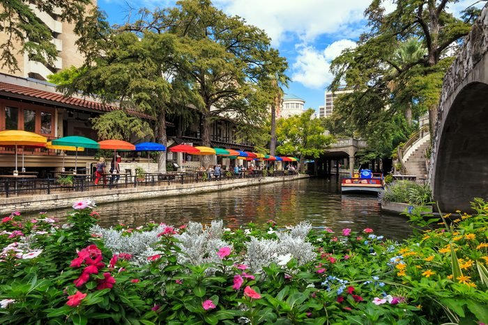 SAN ANTONIO, TEXAS, USA - SEP 29: Section of the famous Riverwalk on September 29, 2014 in San Antonio, Texas. A bustling place with many restaurants and bars.