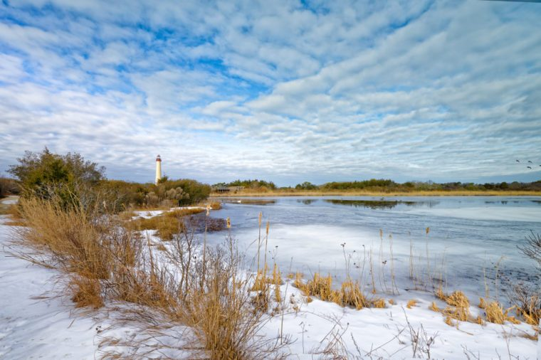 Cape May Lighthouse in winter