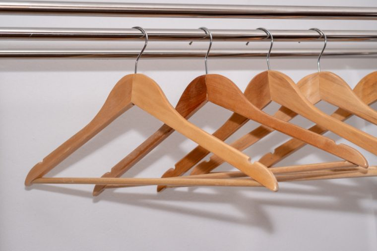 Wooden Coat hangers hook in wardrobe