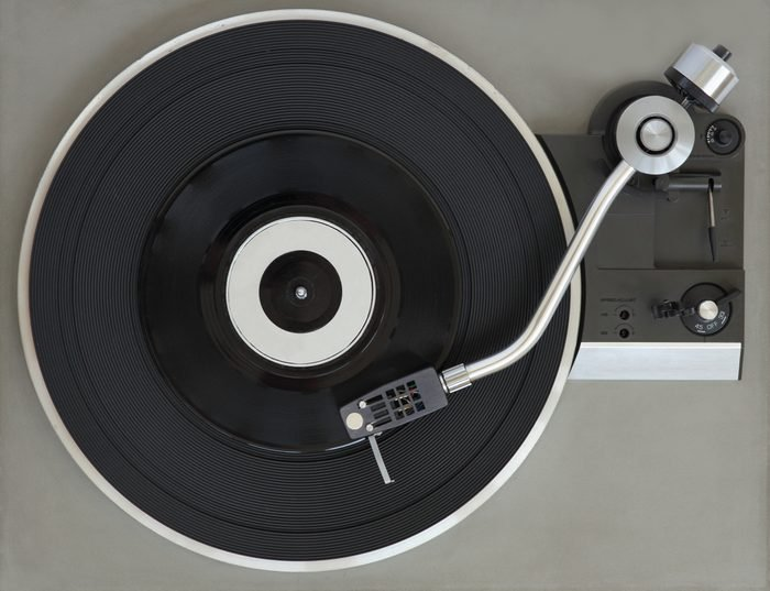 Vintage record player with vinyl record.