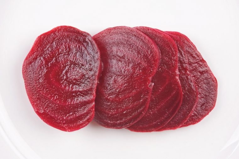 sliced boiled beetroot on a white plate