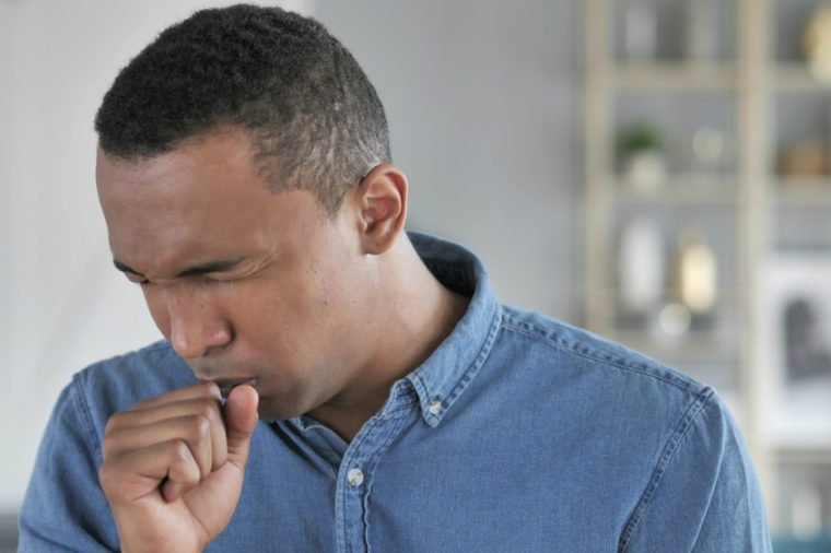 Cough, Portrait of Sick Young African Man Coughing at Work