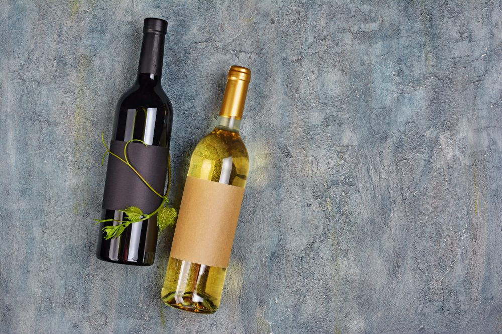 Flat lay of lying organic wine bottles with empty labels and green vine on gray concrete background