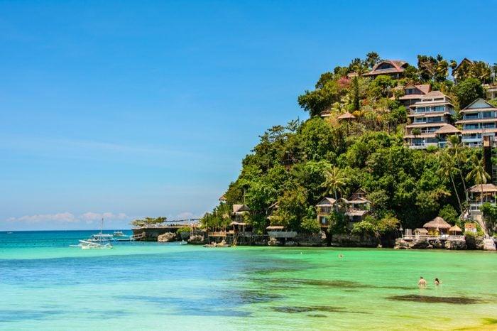 Beautiful turquois lagoon of Boracay island , Philippines