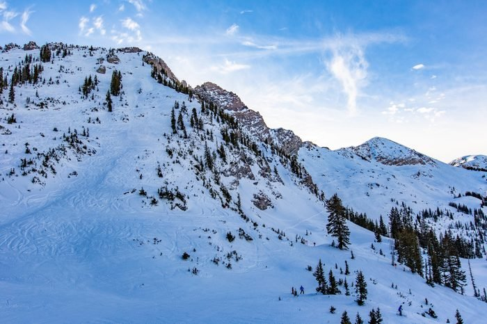 Alpine skiing in Alta, Utah, USA