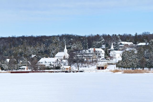 A winter panorama of the picturesque village of Ephraim on the shore of Eagle Harbor in Door County, Wisconsin.
