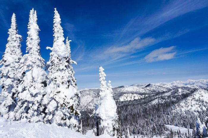 Winter landscape on Big Mountain in Whitefish, Montana, overlooking Glacier National Park, with copy space