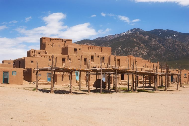 UNESCO World Heritage Site Taos Pueblo outside of Taos, New Mexico, continuously inhabited for over 1000 years.
