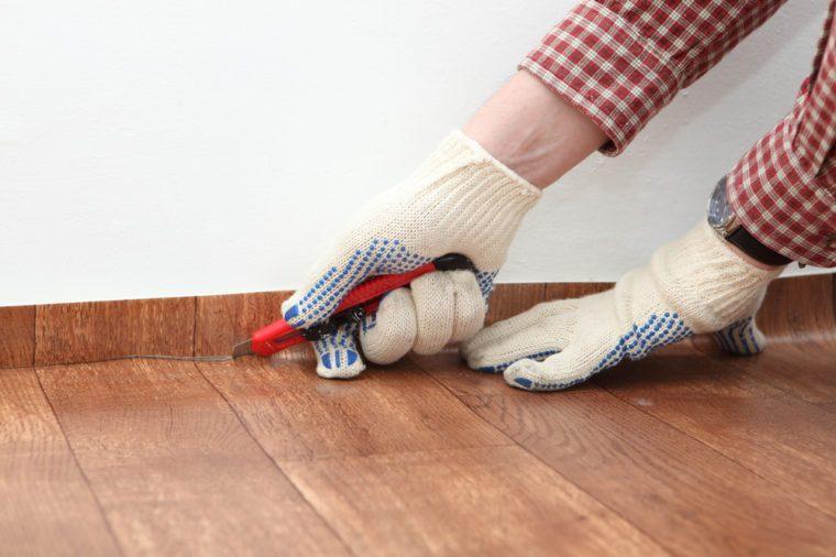 Linoleum flooring installation