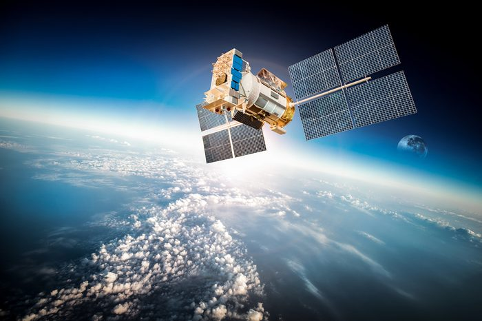 Space satellite orbiting the earth. Elements of this image furnished by NASA.