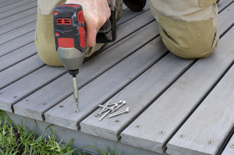 fixing composite decking with a screw gun
