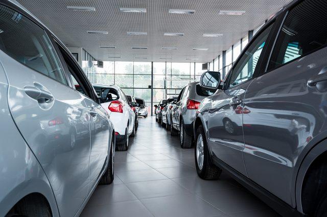New cars at dealer showroom