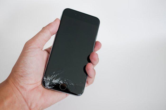crack drop smartphone broke Screen on hand