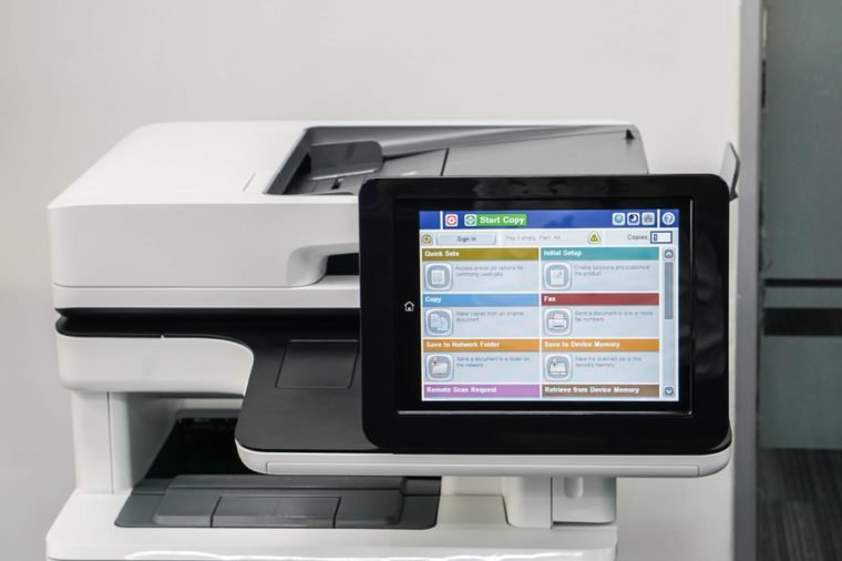 close up modern printer screen in office for touch screen