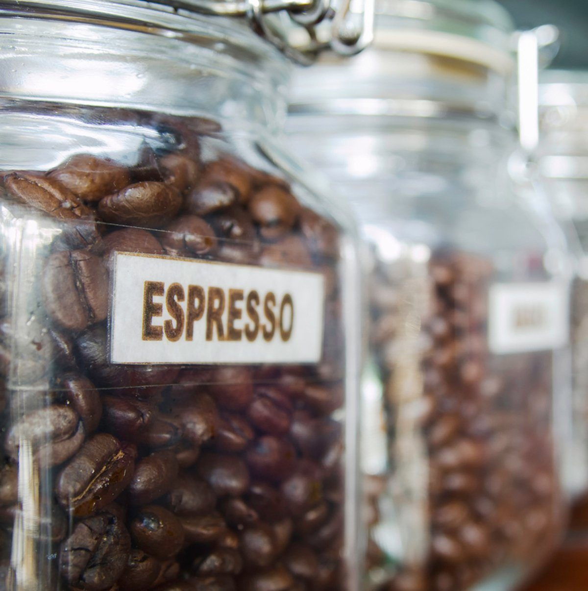 Coffee beans in the Glass bottle;