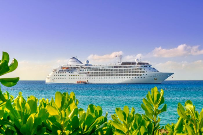 Grand Cayman, Cayman Islands, Jan 2017, The Silver Wind cruise ship from the Silversea company on the Caribbean Sea moored by George Town port