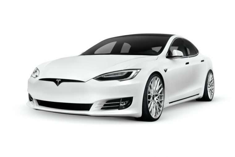 VARIOUS Tesla Model S, white luxury electric car, 2018, cutout on white background