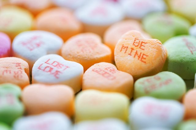 Colorful conversation heart shaped candies for Valentine's Day
