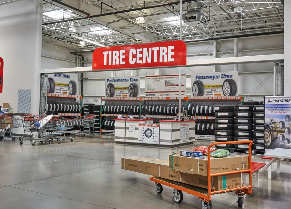 TORONTO, CANADA - AUGUST 15, 2018: Costco Tire Centre. Costco, is an American corporation which operates a chain of membership-only warehouse clubs.