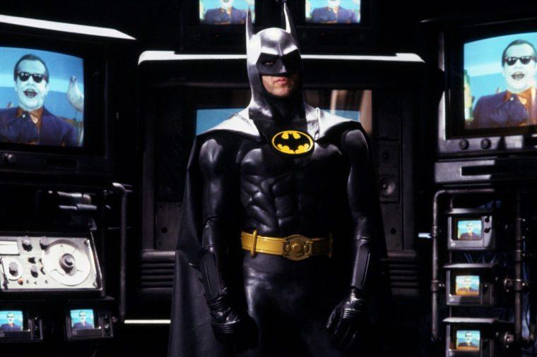 VARIOUS FILM STILLS OF 'BATMAN' WITH 1989, TIM BURTON, CLOTHING, COSTUME, MICHAEL KEATON IN 1989