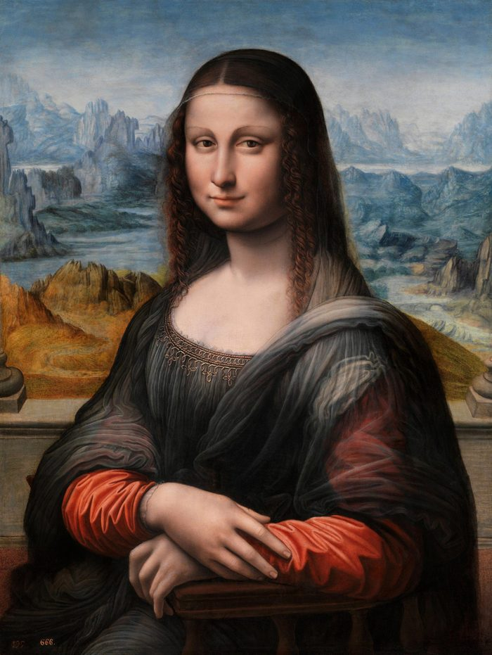 VARIOUS Painting titled 'Mona Lisa' by Leonardo da Vinci (1452-1519) Italian Renaissance polymath: painter, sculptor, architect, musician, mathematician, engineer, inventor, anatomist, geologist, cartographer, botanist, and writer. Dated 15th Century