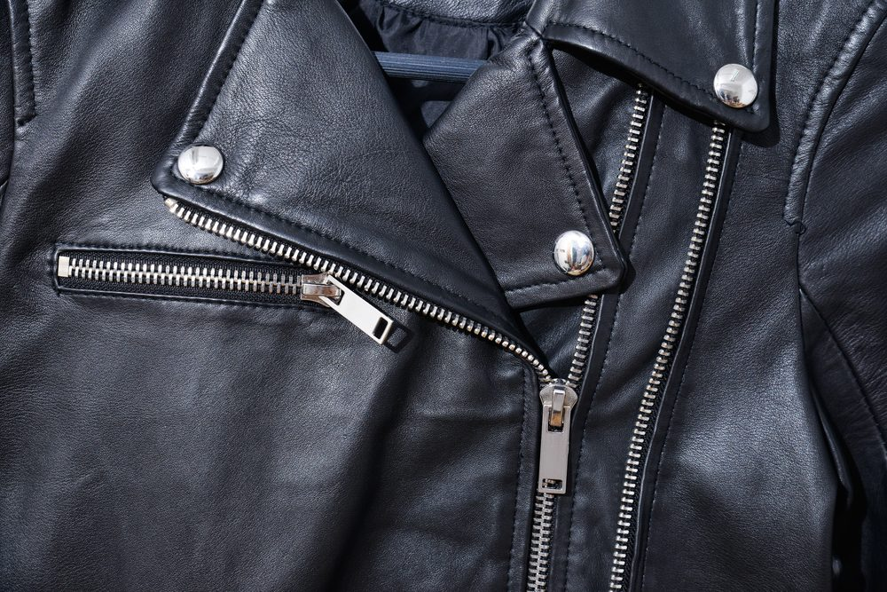 black leather punk jacket texture