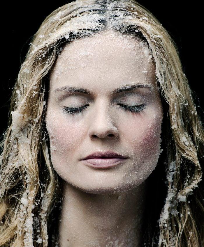 frozen woman eyes closed